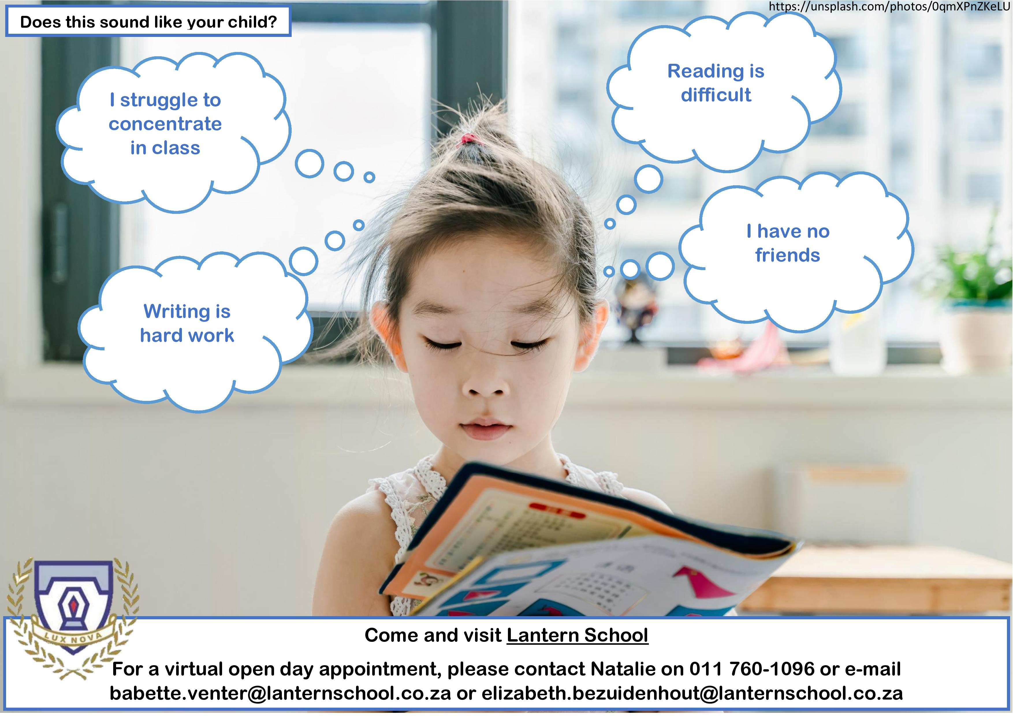 For a virtual open day appointment, please contact Natalie on 011 760 1096 or email babette.venter@lanternschool.co.za or elizabeth.bezuidenhout@lanternschool.co.za