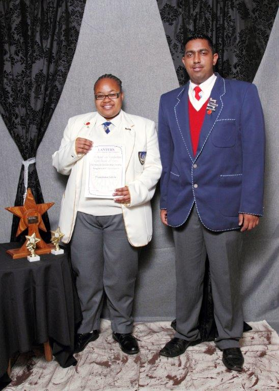 Thandeka Sithole and Amish Rajkumar were awarded the Jill Nourse Trophy for Leadership
