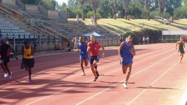 Liam Symons 1st 100m and Kgathatso Kgaladi 4th - North South athletics meeting held in Pretoria on 16 February 2016