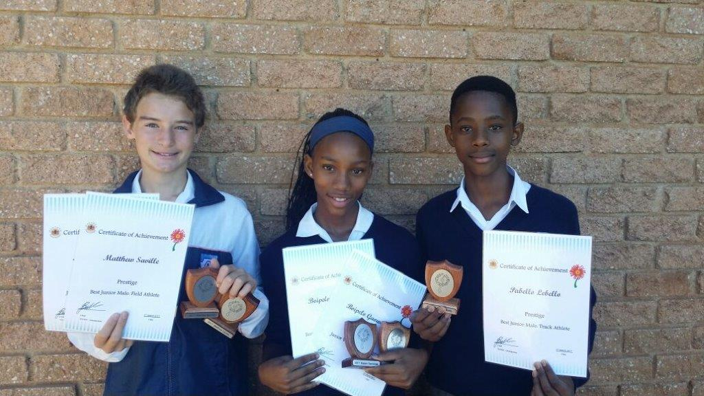 At the Prestige Athletics Awards (LSEN schools) for 2017 held at Transvalia School on 27 March 2017, the following learners received awards: Matthew Saville - Best male field athlete & Jnr Victor Ludorum. Boipelo Gaowelwe - Best female track athlete and Jnr Victrix Ludorum. Paballo Lebelo - Best male track athlete.